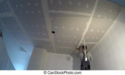 haut., plafond, joints., constructeur, timelapse, plâtre, doigt, placoplâtre, projection, homme