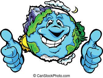 haut, planète, vecteur, pouces, la terre, dessin animé, geste, heureux