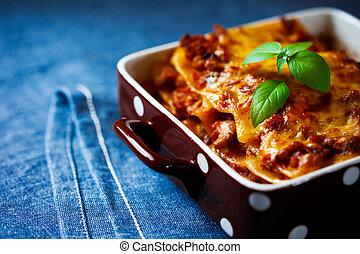 haut., plaque, nourriture., lasagne, fin, italien