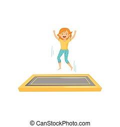 haut., plat, adolescent, carrée, natte, sauter trampoline, joyeux, vecteur, conception, mains, actif, girl, leisure.