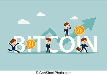 haut., plat, concept., caractère, bitcoin, cryptocurrency, prix, homme affaires, heureux, dessin animé, marché, design.