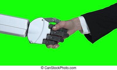 haut., poignée main, lent, main., robot, motion main, vert, screen., fin, fille