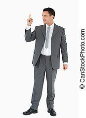 haut, pointage, homme affaires