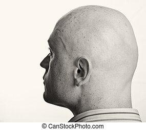 haut, portrait, fin, blanc mâle, toile de fond