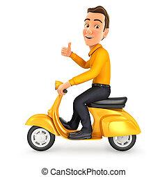 haut, pouce, équitation, homme, scooter, 3d