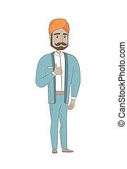 haut., pouce, donner, hindou, jeune, homme affaires