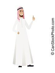 haut., pouce, donner, musulman, jeune, homme affaires