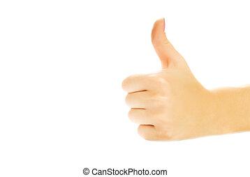 haut., pouce humain, projection, isolé, main, fond, blanc