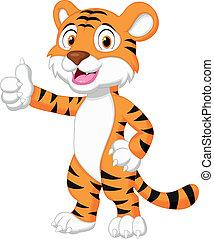 haut, pouce, mignon, tigre, dessin animé, donner