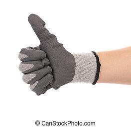 haut., pouces, gant, main