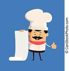 haut, pouces, mignon, projection, papier, -, chef cuistot, rouleau, tenue, professionnel