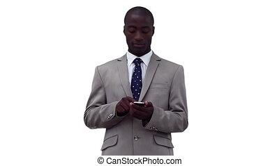 haut, regarder, écriture, texte, avant, homme affaires, message