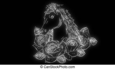 haut, roses, animation, ahorse, lumières