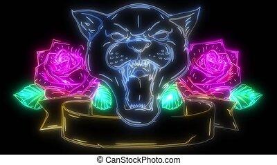 haut, roses, animation, numérique, éclairage, style, néon, ...
