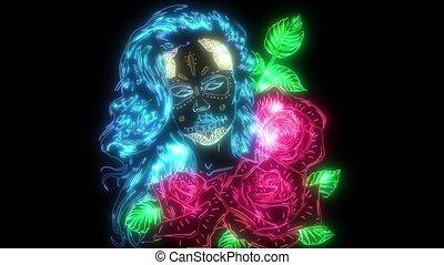 haut, roses, femme, animation, numérique, éclairage, style, ...