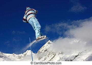 haut sauter, snowboarder, air