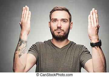 haut., sien, désordre, mains, sérieux, élévation, homme