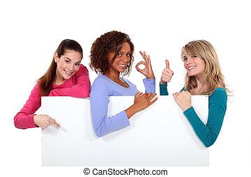 haut, signe, enthusiastically, tenue, vide, femmes