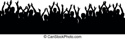 haut., silhouette, applaudissements, foule, gens., cheering., gai, vecteur, mains
