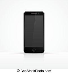 haut., smartphone, illustration., réaliste, vecteur, icon., railler