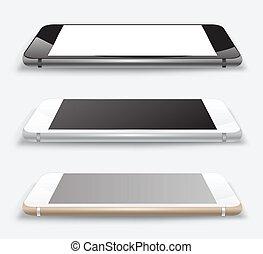 haut., smartphone, railler, vecteur