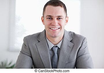 haut, sourire, fin, homme affaires