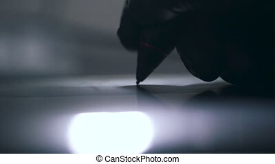 haut, stylo écriture, arrière-plan noir, fin