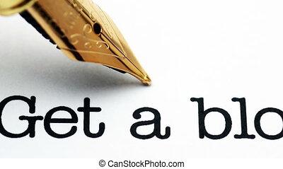 haut, stylo, fontaine, blog, fin, texte