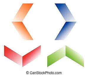 haut., symboles, pointage, vertical, icônes, bas, gauche, 4, droite flèche, horizontal, flèches, direction.
