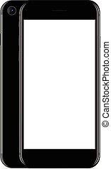 haut, téléphone, vecteur, arrière-plan noir, blanc, conception, railler