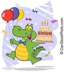 haut, tenue, gâteau, crocodile