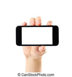 haut., tenue, screen., isolé, main, téléphone, arrière-plan noir, vide, fin, blanc