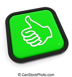 haut, vert, button., geste, pouces