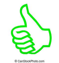haut, vert, pouces, white.