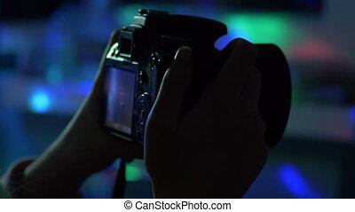 haut, vidéo, dslr, fin, appareil photo, enregistrement