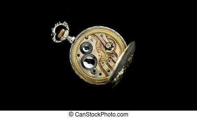 haut., vieux, timelapse, dos, clock., tourner, mécanisme, fond, fin