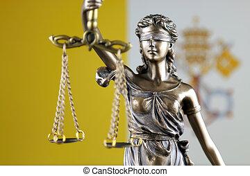 haut., ville, justice, flag., symbole, vatican, fin, droit & loi