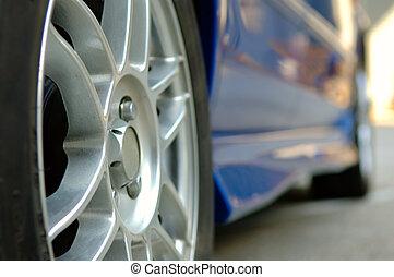 haut, voiture, fin, roue