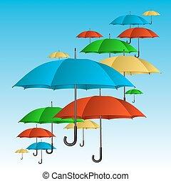 haut voler, coloré, parapluies, vecteur