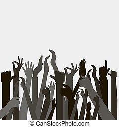 haut, vote, mains