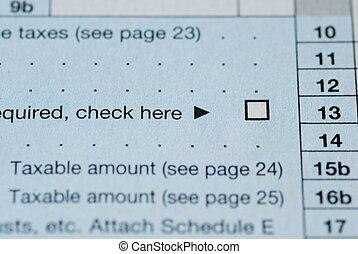 haut, vue, boîte proche, chèque