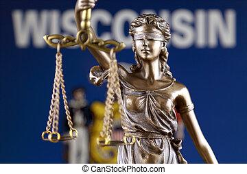 haut., wisconsin, justice, flag., symbole, état, fin, droit & loi