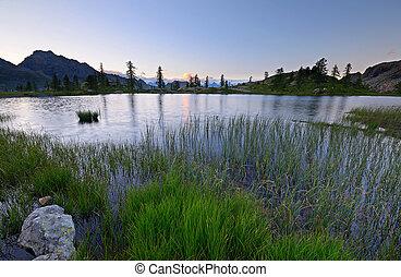 haute altitude, lac, alpin