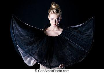 haute couture - Art fashion photo of a beautiful model. Over...