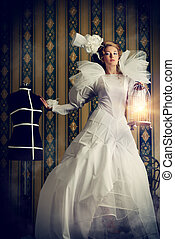 haute couture - Beautiful fashion model in the refined white...