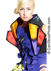 Haute Couture - Beautiful woman wearing blue dress.