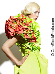 Haute Couture - Beautiful woman wearing green dress with...