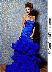haute couture dress - Fashion shot. Beautiful young woman...
