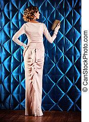 haute couture dress - Full length portrait of a beautiful...