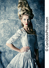 haute couture - Fashion portrait of a beautiful woman in a...